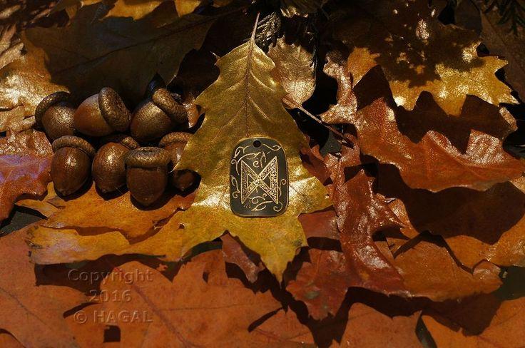 Dagaz  Rune Amulet Pendant Handmade Brass Wicca Pagan Viking Druid