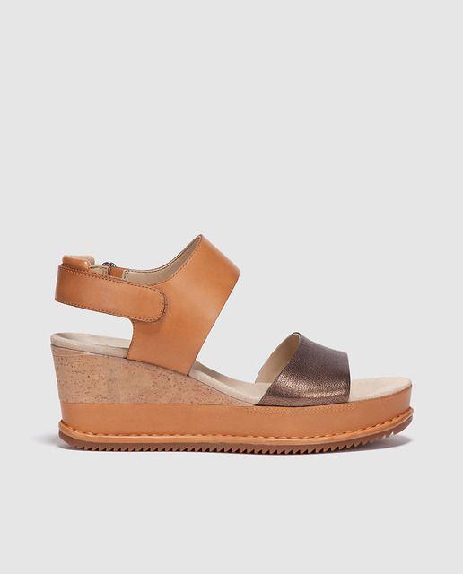 Sandalias de cuña de mujer Clarks marrones