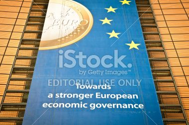 Ads on the facade of Berlaymont building, Brussels Royalty Free Stock Photo