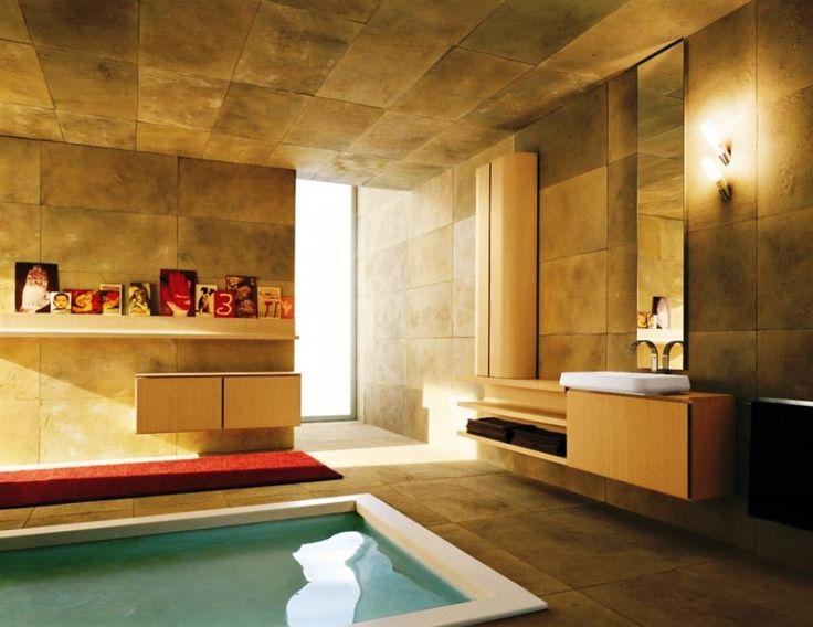 BathroomElegant Luxurious Mediterranean Bathroom Interior Design Ideas With Stone Wall And Rectangular Jacuzzi