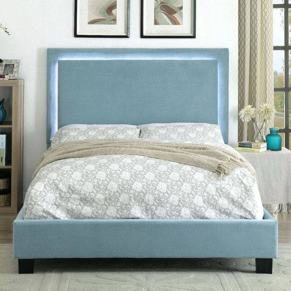 Furniture of America Winona Contemporary LED Light Trim Blue Flannelette Platform Bed