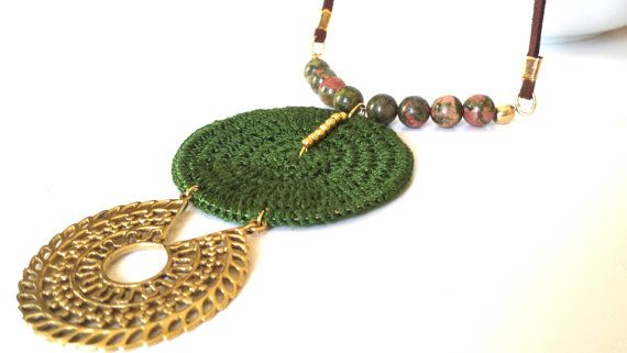 Check out this item in my Etsy shop https://www.etsy.com/listing/290047963/green-long-necklace-with-pendant-green