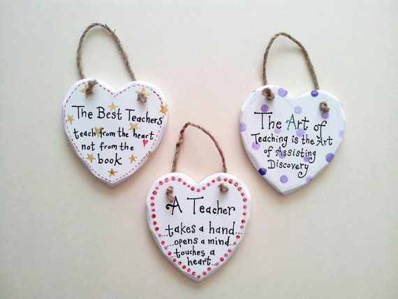 Hand painted wooden heart signs, teacher appreciation, custom orders welcome, wooden plaque, hanging heart, teacher, thank you