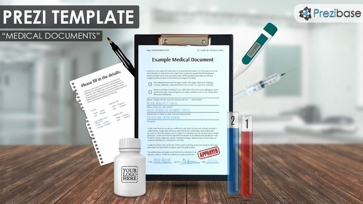 Medical and Healthcare documents in hospital prezi template