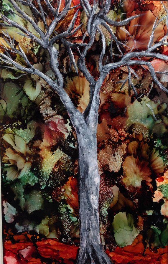 Alcohol ink art. Autumn's End by KCsCornerGallery on Etsy, $48.00