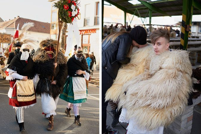 Left: townspeople march through the streets in costume. In remembrance of the second Battle of Mohacs, wreaths like the one carried here are laid beneath a commemorative statue in Szechenyi Square. Right: teenage Busos hang out Sunday after the processional into town. Credit Henry Bourne