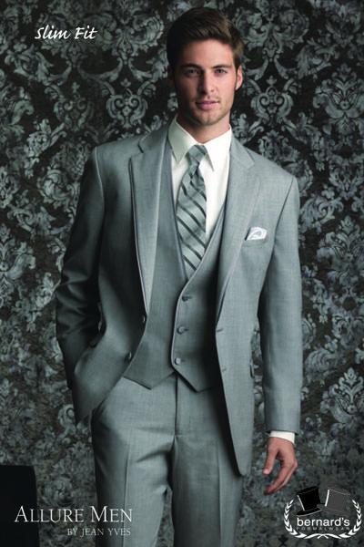 Jean Yves  Allure Men Heather Grey #slimfit satin trimmed notch #tuxedo! #bernardstux