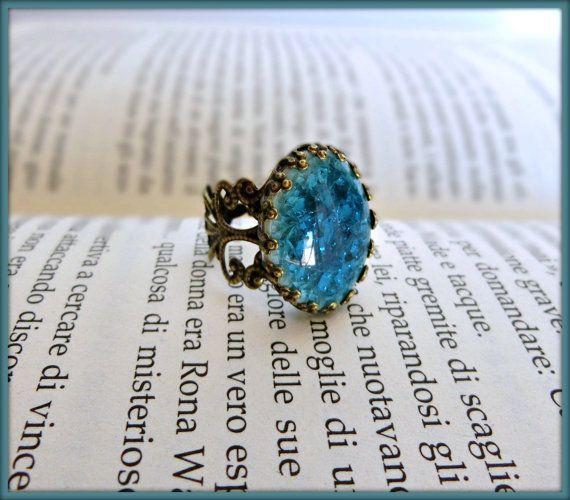 Vintage blue ring, Adjustable filigree ring, Blue ceramic ring, Victorian style blue ring.