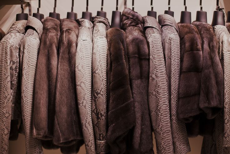 Mink fur coats and python jacket at out stores #shopping #fur #leather