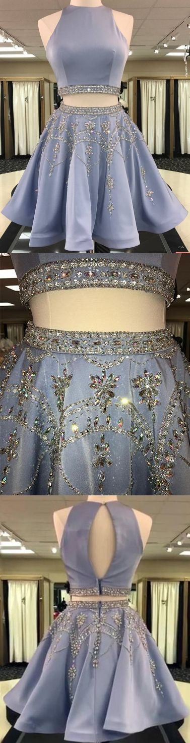 Two Piece Homecoming Dress Rhinestone Scoop Sexy Chic Short Prom Dress Party Dress JK459 #homecomingdress #homecoming #shortdress #shortpromdress #partydress #party #prom #two piece #twopiecehomecomingdress #fashion #style #dance #rhinestone #lavender