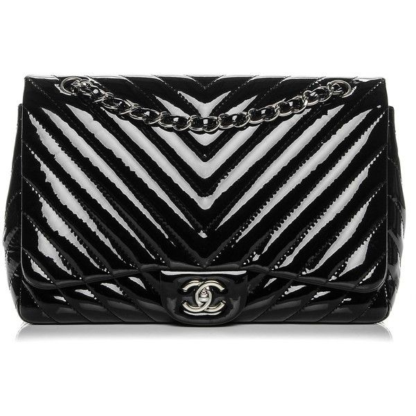 CHANEL Patent Chevron Jumbo Single Flap Black ❤ liked on Polyvore featuring bags, handbags, shoulder bags, chain strap shoulder bag, chanel, flap handbags, patent leather handbags and chanel handbags