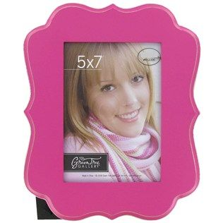 """Green Tree Gallery 5"""" x 7"""" Hot Pink Wood MDF Shaped Picture Frame 