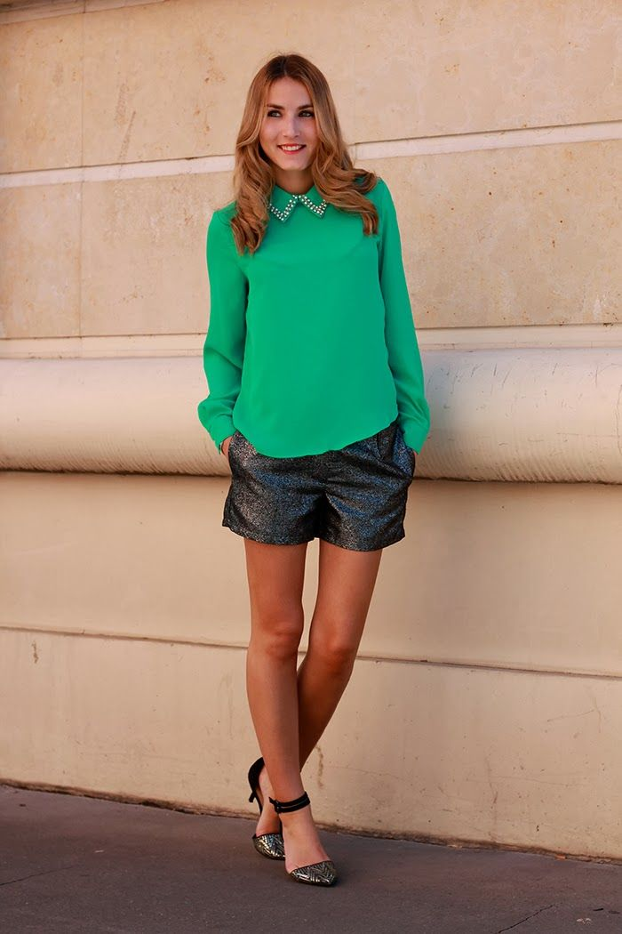 Heels on Gasoline   EMBELLISHED COLLAR TOP         TOP : Beautiful Monster  / SHORT : Villa / SHOES : Zara     G reen isn't my color and I r...