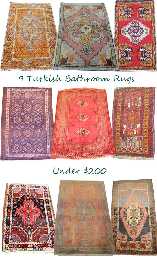 Design Manifest bathroom rug roundup. I love the traditional rug in fun untraditional colors.