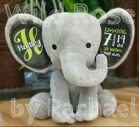 Birth Announcement Stuffed Animal Personalized Elephant