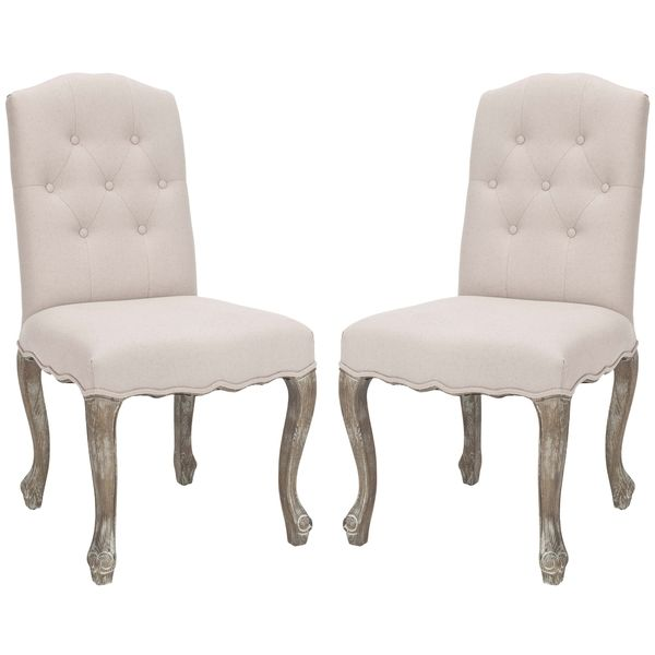 safavieh nirot beige linen side chairs set of 2 overstock shopping dinning room ideasdining