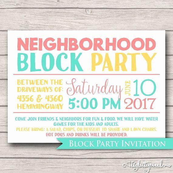 35 Neighborhood Block Party Invitation Template In 2020 With Images Block Party Invitations