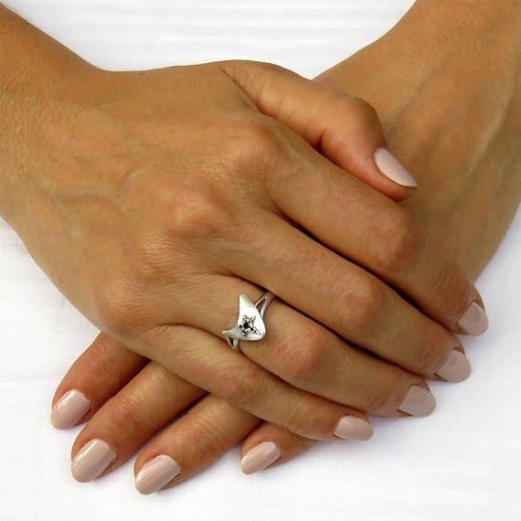 Unique engagement ring Unique diamond ring White gold