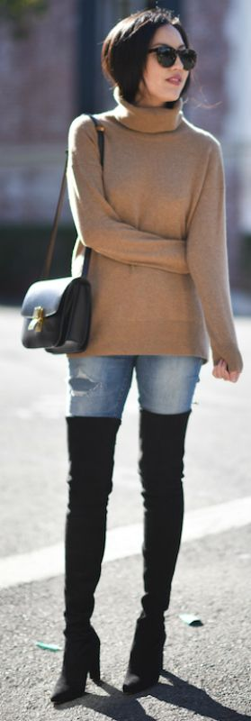 Ann Taylor + thigh high boots + classic denim jeans + beige rollneck sweater + expresses cool and casual vibes + perfect + cute winter style.  Boots: Stuart Weitzman, Jeans: Madewell, Turtleneck: Everlane, Bag: Celine.