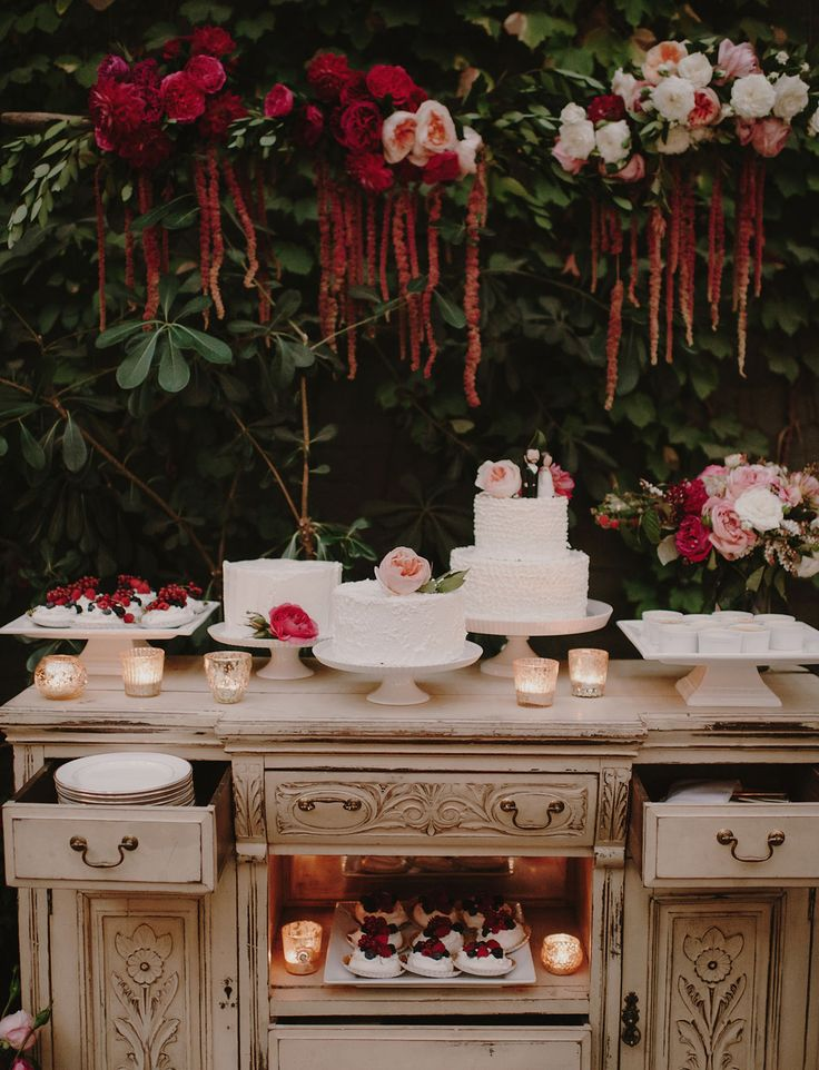 Whimsical storybook wedding dessert table