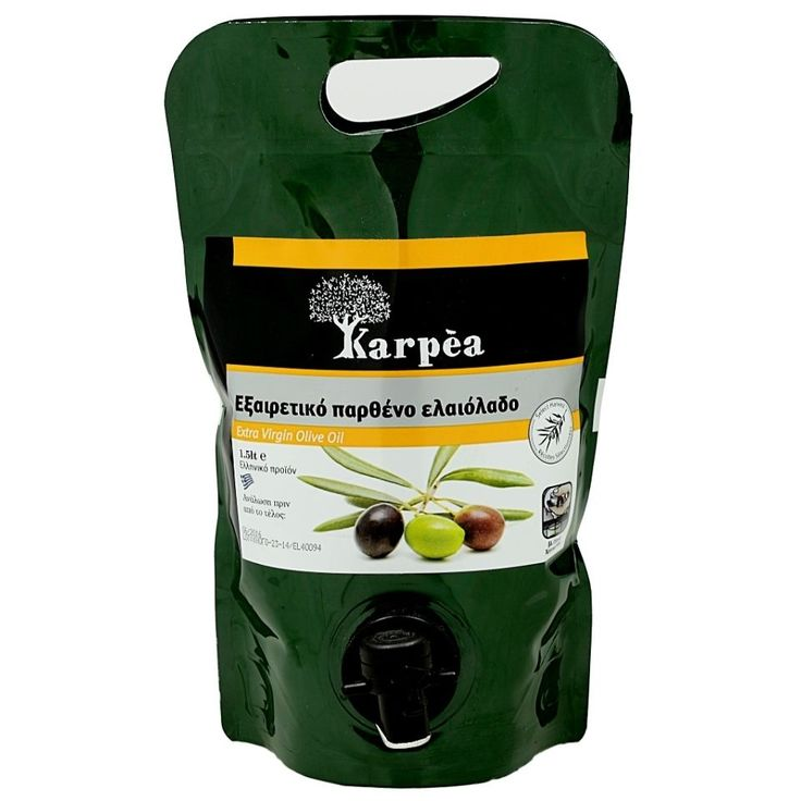 Greek Extra Virgin Olive Oil Karpea with Drainage Tap Airtight Pack 1,5L