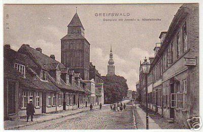 07894 Ak Greifswald Domplatz mit Jakobikirche um 1900 gebraucht kaufen bei Hood.de