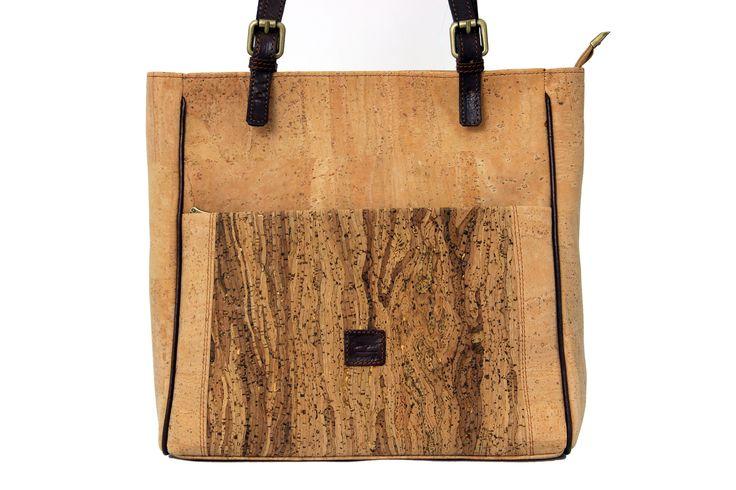 Cork Handbag Jasmine with Vandy pattern on the front | Original Portuguese Cork | Limited edition