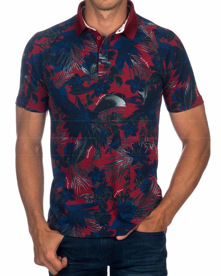 Polo ARMANI EXCHANGE ® Rojo & Azul Tropical | ENVÍO GRATIS