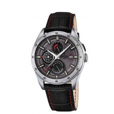 F16877/3 Ανδρικό σπορ quartz ρολόι FESTINA με ημερολόγιο, γκρι καντράν & μαύρο λουρί | Ανδρικά ρολόγια FESTINA ΤΣΑΛΔΑΡΗΣ στο Χαλάνδρι #Festina #χρονογραφος #γκρι #δερμα #ρολοι