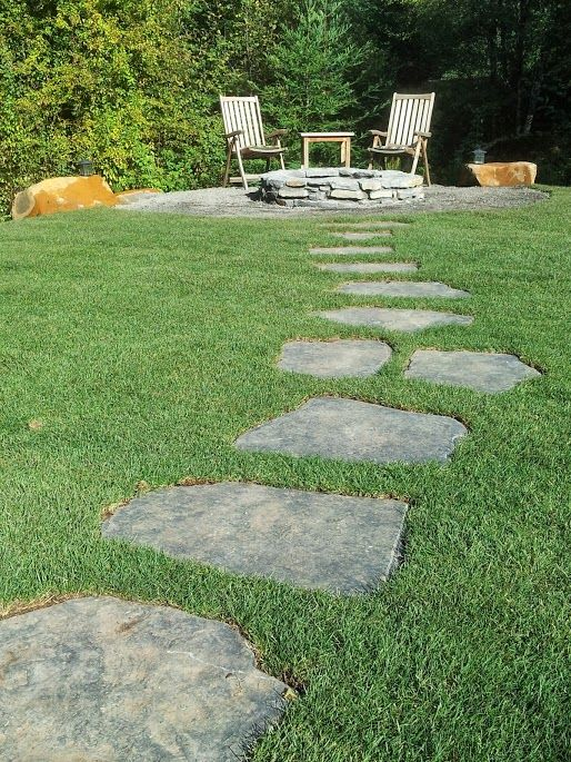 Pin by cailin drakos on crest house ideas pinterest for Stone path in grass