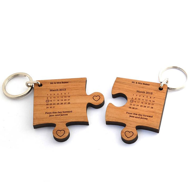Personalised Wedding Day Keyring << laser project calendar anniversary (without the bottom 'heart' tabs)