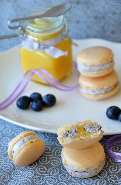 Meyer Lemon Macarons with Blueberry Buttercream and Meyer Lemon Curd