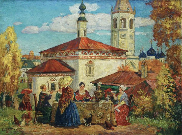 Boris Kustodiev (Russia, 1878 – 1927)  At the Old Suzdal