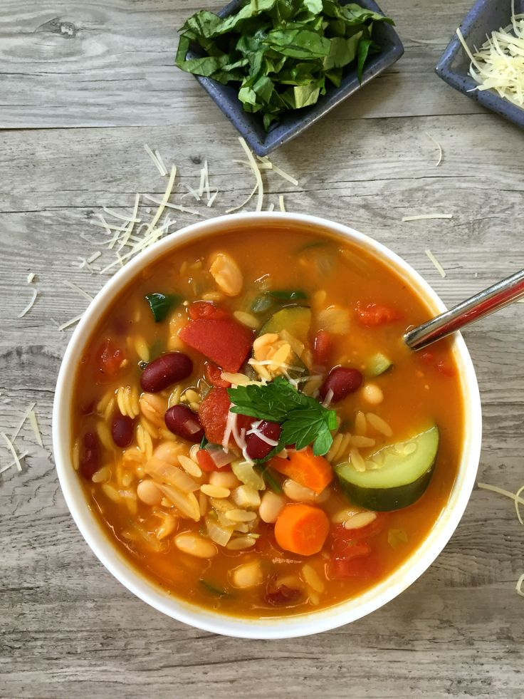 30 Minute Orzo Minestrone Soup is hearty, nutritious and packed with your favorite Italian flavors.  The beans provide protein, the vegetables provide vitamins and the cheese provides calcium.  This is a 30 minute meal the whole family will love