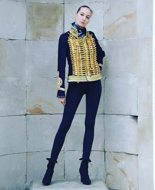 #belgraviapunx #belgravia #punx #jacket #denim #jeans #ornament #embroidery #gold #fashion #london #paris #milan #chic #blue #navyblue #longlegs #girl #model #ballerina #highheels #leggins #slender #sporty #silhouette #equestrian #hussar #sexy #military #style