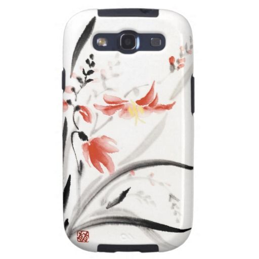 Classic oriental chinese sumi-e ink flowers paint samsung galaxy SIII cases