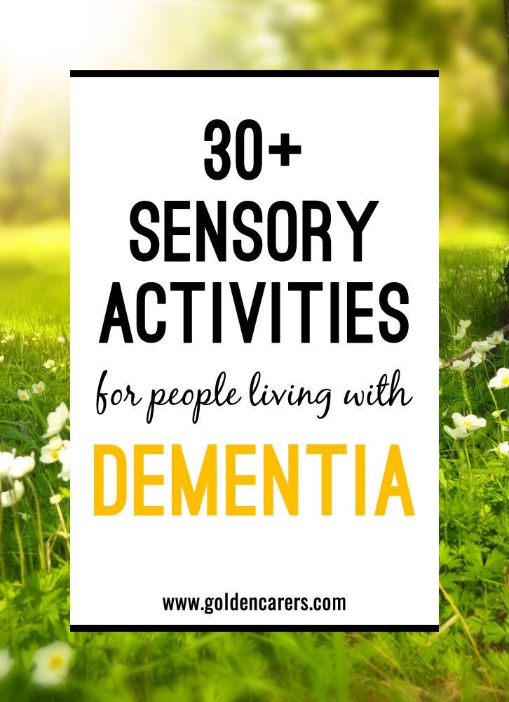 Sensory stimulation is the activation of one or more of the senses such as taste, smell, sight, hearing, and touch. Sensory stimulation is a key component for improving the quality of life of people living with dementia.