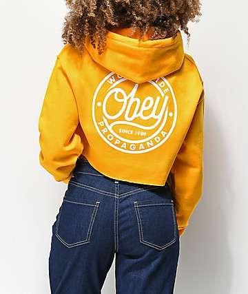 425b89de8b5d6 Obey Since 89 Gold Crop Hoodie   Wishlist in 2019   Cropped hoodie ...