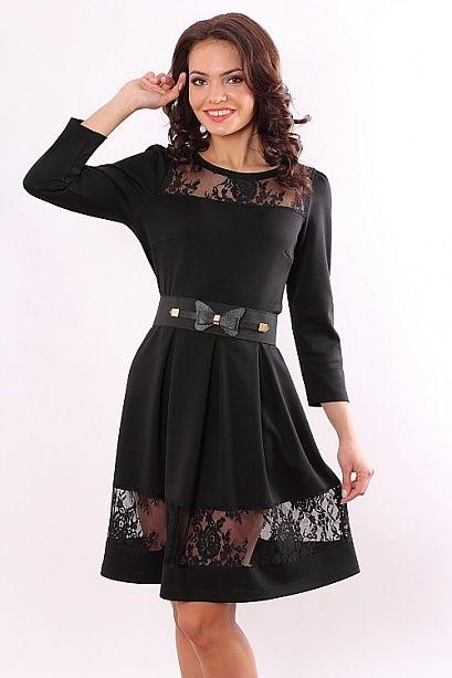 Платье 3824 во Владивостоке Платье из плотного трикотажа с кружевом ремень в | Платья