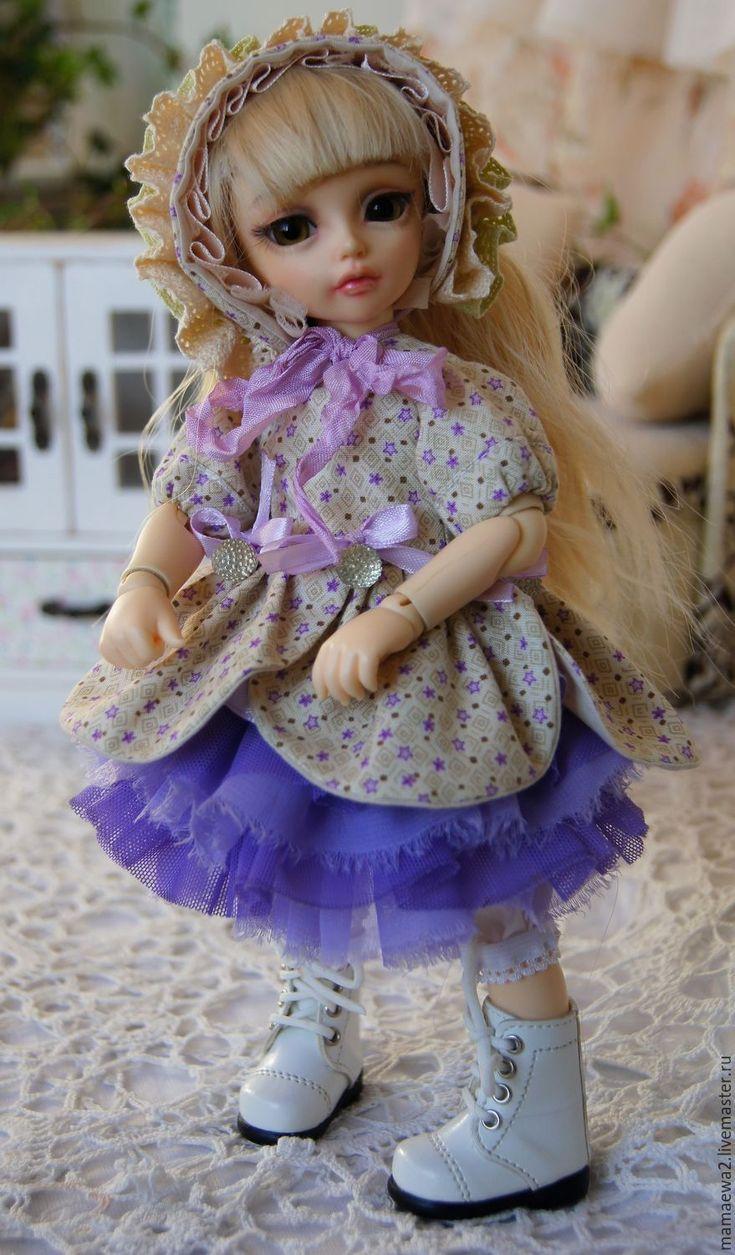 Купить Весна в сиреневом саду - бежевый, нарядное платье, Нарядная одежда, кукла, красивое платье