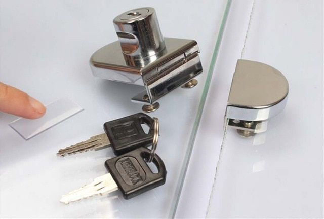 Glass Display Cabinet Locks Zinc Alloy Double Door No Need Drilling For 5 8mm Glass Keyed Alike Glass Cabinets Display Display Cabinet Cabinet Locks