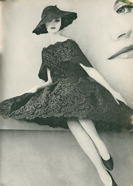 Lace dress and hat, 'Voge' magazine, 1960.