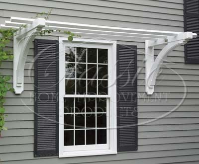Pre-fab over window trellis. Three options seen when click through. Gallery: Flower Boxes Azek Trellis
