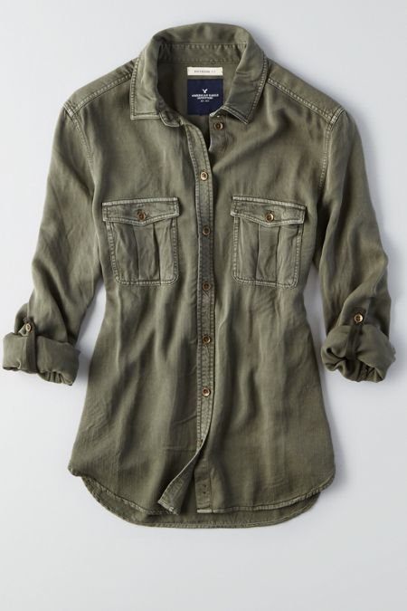 Like his, but made just for you. Shop the AEO Boyfriend Shirt  from American Eagle Outfitters. Check out the entire American Eagle Outfitters website to find the best items to pair with the AEO Boyfriend Shirt .