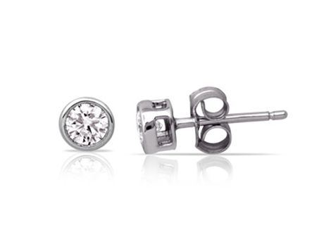 #diamond stud earrings with two #brilliant cut #diamonds weighing a total of 0.40ct in #bezel settings | #thomasjewellers