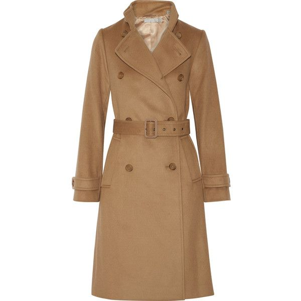 Vince Wool and cashmere-blend trench coat (33,325 PHP) ❤ liked on Polyvore featuring outerwear, coats, camel, double-breasted wool coat, wool cashmere blend coat, long trench coat, trench coats and double breasted coat