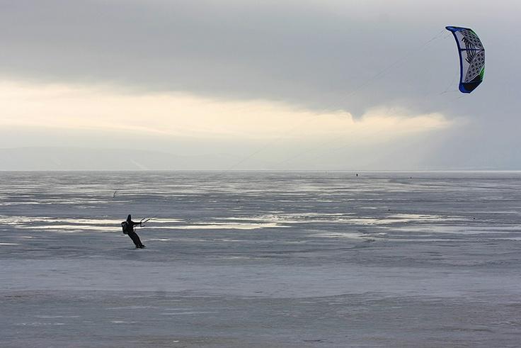 ParaSkiing on the Frozen Volga