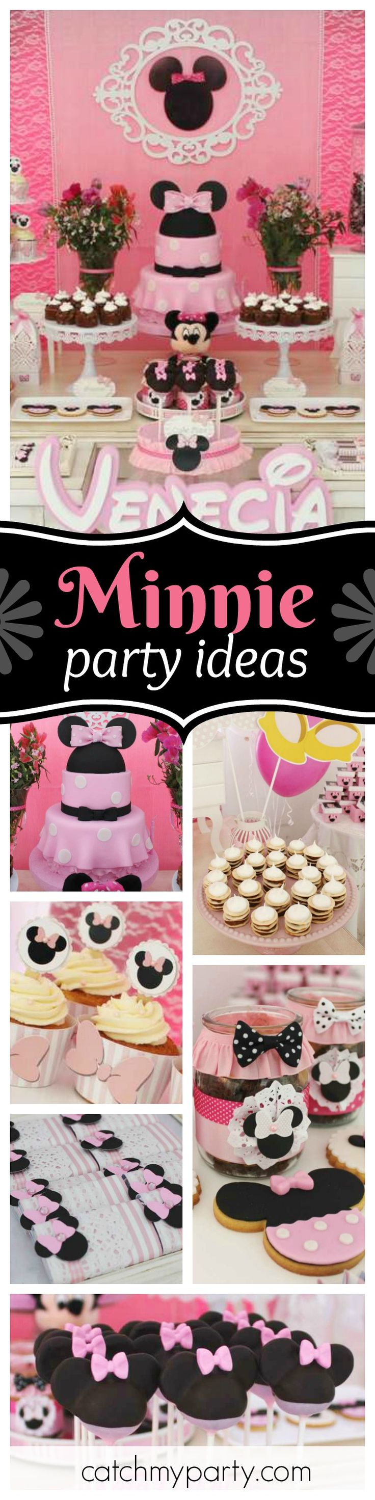 You do not want to miss this pretty pink Minnie Birthday Party! The Minnie Birthday cake is amazing!! See more party ideas and share yours at CatchMyParty.com
