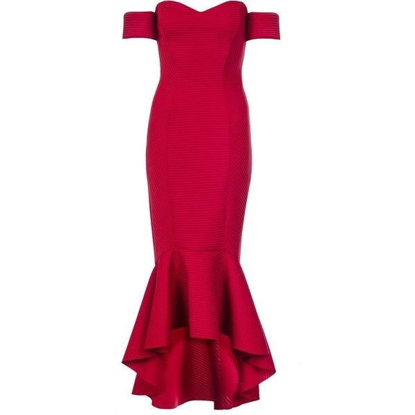 Quiz Red Arm Cuff Fishtail Dress ($86) ❤ liked on Polyvore featuring dresses, red, women, pink red dress, fish tail dress, fishtail dress, red dress and pink dress                                                                                                                                                                                 More