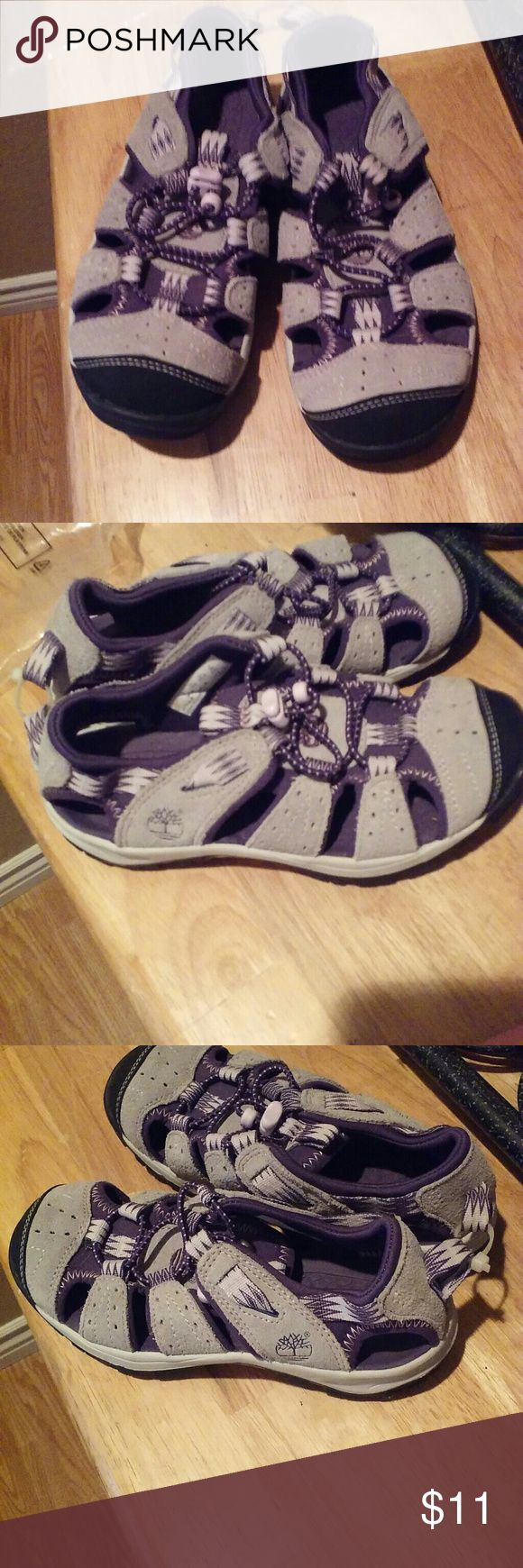 Timberland Girl's Water Shoes Grey and Purple body on the top, pink and black on the bottom, NWOT, great quality, design, and sturdy.  Summer and water sports coming up! ! Timberland Shoes Water Shoes